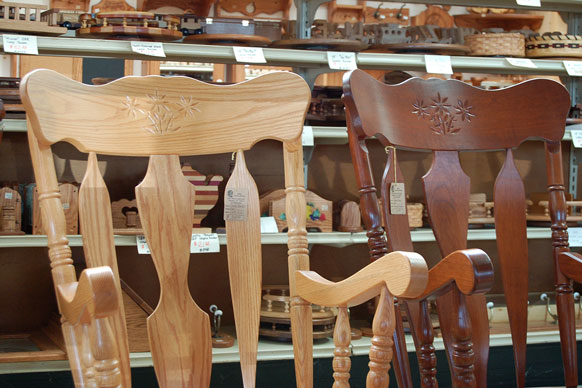 two Amish-made rocking chairs